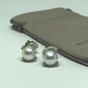 David Y 10mm Pearl Diamond Earrings